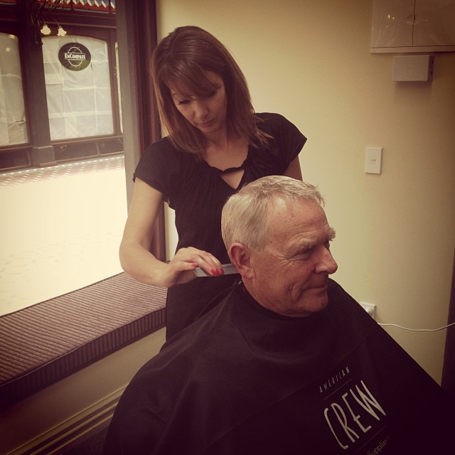 A true gent...Peter Jones happy with his first visit to Mankind Barbers!