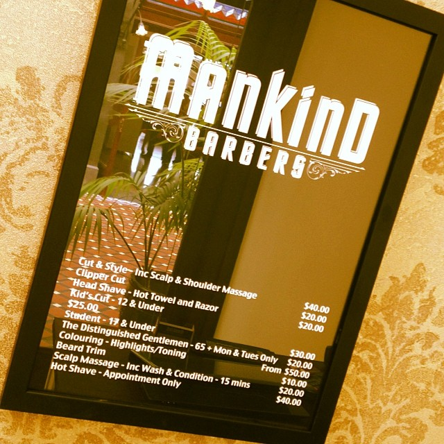 New Mankind Barbers price list... Cheers Gazza