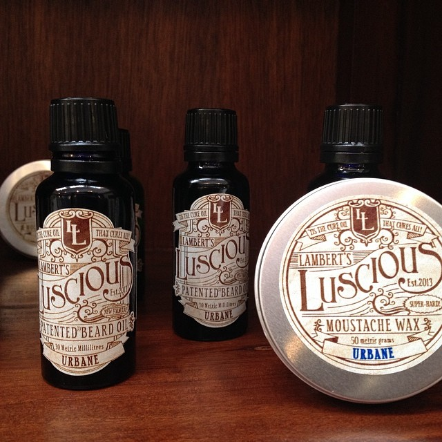 New in store. Lambert's Luscious beard and moustache oil and wax!! For all your grooming needs, You'll have the softest, shiniest, luscious beard! Come on boys come grab some!!